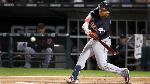 <p>               Cleveland Indians Jose Ramirez swings for a grand slam off Chicago White Sox's Carson Fulmer during the first inning of a baseball game Tuesday, Sept. 24, 2019, in Chicago. (AP Photo/Charles Rex Arbogast)             </p>