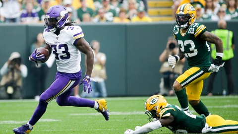 <p>               Minnesota Vikings' Dalvin Cook breaks away from Green Bay Packers' Darnell Savage for a touchdown run during the first half of an NFL football game Sunday, Sept. 15, 2019, in Green Bay, Wis. (AP Photo/Mike Roemer)             </p>