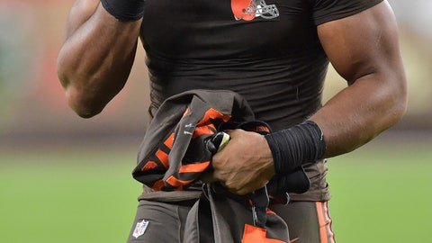 <p>               Cleveland Browns defensive end Myles Garrett holds his head as he walks off the field after the Los Angeles Rams defeated the Browns 20-13 in an NFL football game, Sunday, Sept. 22, 2019, in Cleveland. (AP Photo/David Richard)             </p>