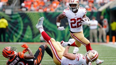 <p>               San Francisco 49ers running back Matt Breida (22) runs the ball during the second half an NFL football game against the Cincinnati Bengals, Sunday, Sept. 15, 2019, in Cincinnati. (AP Photo/Frank Victores)             </p>