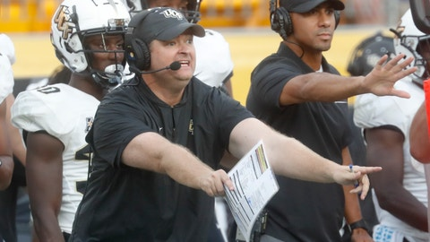 <p>               Central Florida head coach Josh Heupel yells instructions to his team during the second half of an NCAA college football game against Pittsburgh, Saturday, Sept. 21, 2019, in Pittsburgh. (AP Photo/Keith Srakocic)             </p>