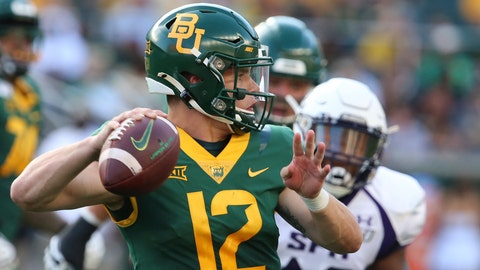 <p>               FILE - In this Aug. 31, 2019, file photo, Baylor quarterback Charlie Brewer throws downfield against Stephen F. Austin in the first half of an NCAA college football game, in Waco, Texas. Charlie Brewer is finally entrenched as Baylor's quarterback in his third season starting games. Frank Harris, also a touted dual-threat recruit as a Texas high school senior three years ago, is just getting started at UTSA. (Rod Aydelotte/Waco Tribune-Herald via AP, File)             </p>