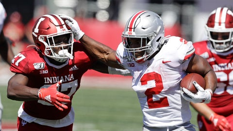 <p>               Ohio State running back J.K. Dobbins (2) runs past Indiana defensive back Devon Matthews (27) during the first half of an NCAA college football game, Saturday, Sept. 14, 2019, in Bloomington, Ind. (AP Photo/Darron Cummings)             </p>