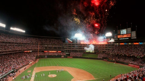 <p>               FILE - In this July 11, 1995, file photo, the National League celebrates with fireworks following Tuesday night's All-Star Game at The Ballpark in Arlington in Arlington, Texas. Before moving across the street next season into a $1 billion-plus air-conditioned stadium with a retractable roof, the Rangers have three games this week against the Boston Red Sox and then end the season with three games against the AL East champion New York Yankees. (AP Photo/Pat Sullivan, File)             </p>