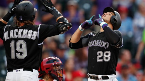 <p>               Colorado Rockies' Charlie Blackmon, left, waits to congratulate Nolan Arenado on the latter's two-run home run off St. Louis Cardinals starting pitcher Michael Wacha during the first inning of a baseball game Tuesday, Sept. 10, 2019, in Denver. (AP Photo/David Zalubowski)             </p>