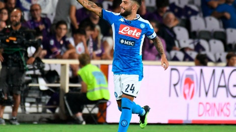 <p>               Napoli's forward Lorenzo Insigne celebrates scoring during the Italian Serie A soccer match between ACF Fiorentina and SSC Napoli at the Artemio Franchi stadium in Florence, Italy, Saturday Aug. 24, 2019. (Claudio Giovannini/ANSA via AP)             </p>
