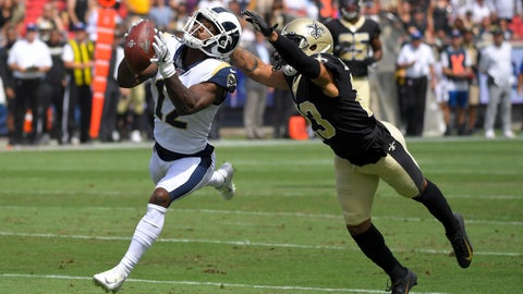<p>               Los Angeles Rams wide receiver Brandin Cooks, left, catches a pass inform of New Orleans Saints cornerback Marshon Lattimore during the first half of an NFL football game Sunday, Sept. 15, 2019, in Los Angeles. (AP Photo/Mark J. Terrill)             </p>