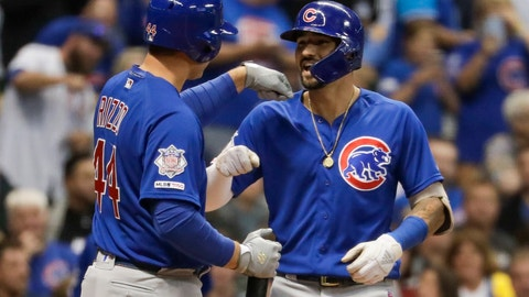 <p>               Chicago Cubs' Nicholas Castellanos is congratulated by Anthony Rizzo after hitting a home run during the third inning of a baseball game against the Milwaukee Brewers Friday, Sept. 6, 2019, in Milwaukee. (AP Photo/Morry Gash)             </p>