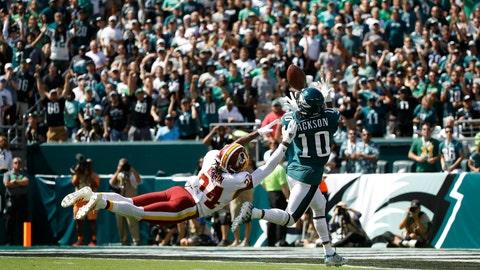 <p>               Philadelphia Eagles' DeSean Jackson, right, catches a touchdown pass against Washington Redskins' Josh Norman during the first half of an NFL football game Sunday, Sept. 8, 2019, in Philadelphia. (AP Photo/Matt Rourke)             </p>