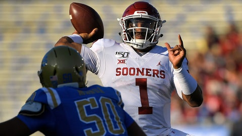 <p>               Oklahoma quarterback Jalen Hurts, right, throws a pass as UCLA defensive lineman Tyler Manoa defends during the first half of an NCAA college football game Saturday, Sept. 14, 2019, in Pasadena, Calif. (AP Photo/Mark J. Terrill)             </p>