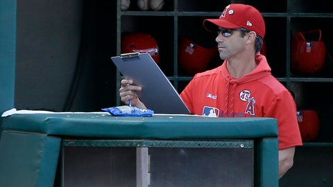 <p>               Los Angeles Angels manager Brad Ausmus picks up his clipboard after the last out in the ninth inning as the Houston Astros defeat his team in a baseball game in Anaheim, Calif., Sunday, Sept. 29, 2019. (AP Photo/Alex Gallardo)             </p>