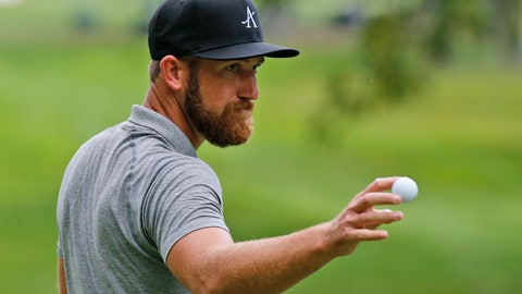 <p>               Kevin Chappell tips his ball to the crowd on the ninth hole during the second round of A Military Tribute at The Greenbrier golf tournament in White Sulphur Springs, W.Va., Friday, Sept. 13, 2019. (AP Photo/Steve Helber)             </p>