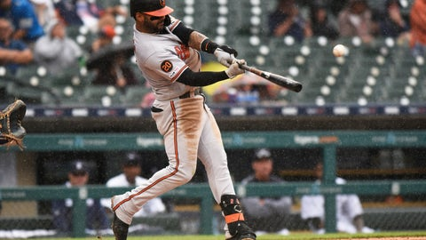 <p>               Baltimore Orioles' Jonathan Villar bats against the Detroit Tigers in the sixth inning of a baseball game Sunday, Sept. 15, 2019, in Detroit. (AP Photo/Jose Juarez)             </p>