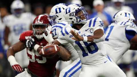 <p>               Duke quarterback Quentin Harris (18) throws from the pocket during the second half an NCAA college football game against Alabama, Saturday, Aug. 31, 2019, in Atlanta. Alabama won 42-3. (AP Photo/John Bazemore)             </p>