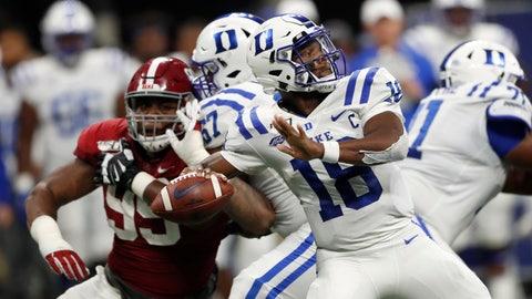 <p>               Duke quarterback Quentin Harris (18) throws from the pocket during the second half an NCAA college football game against Alabama, Saturday, Aug. 31, 2019, in Atlanta. Alabama won 42-3. (AP Photo/John Bazemore)             </p>
