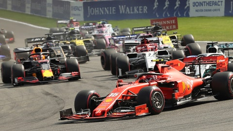 <p>               Ferrari driver Charles Leclerc of Monaco leads as the drivers steer their cars into the first corner during the Belgian Formula One Grand Prix in Spa-Francorchamps, Belgium, Sunday, Sept. 1, 2019. (AP Photo/Francisco Seco)             </p>