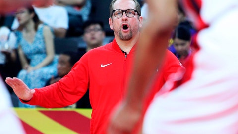 <p>               Canada's coach Nick Nurse gestures during their group H match against Senegal in the FIBA Basketball World Cup 2019 game in Dongguan in south China's Guangdong province, Thursday, Sept. 5, 2019. (AP Photo)             </p>
