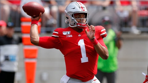 <p>               Ohio State quarterback Justin Fields throws a pass against Florida Atlantic during the first half of an NCAA college football game Saturday, Aug. 31, 2019, in Columbus, Ohio. (AP Photo/Jay LaPrete)             </p>