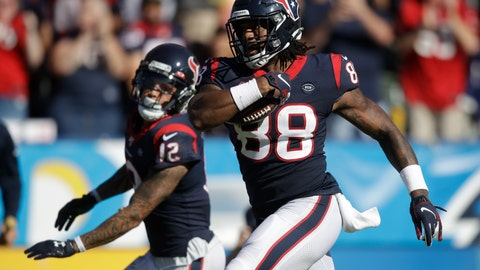 <p>               Houston Texans tight end Jordan Akins (88) scores against the Los Angeles Chargers during the second half of an NFL football game Sunday, Sept. 22, 2019, in Carson, Calif. (AP Photo/Marcio Jose Sanchez)             </p>