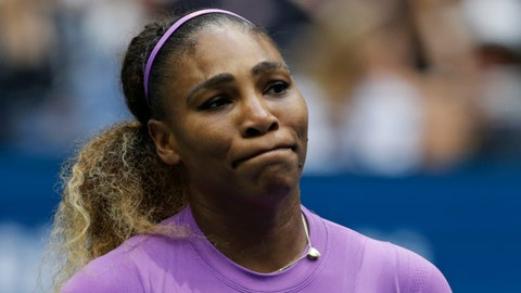 <p>               Serena Williams, of the United States, reacts after losing a point to Bianca Andreescu, of Canada, during the women's singles final of the U.S. Open tennis championships Saturday, Sept. 7, 2019, in New York. (AP Photo/Adam Hunger)             </p>