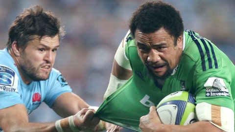 <p>               FILE - In this June 27, 2015, file photo, Waratahs' Adam Ashley-Cooper, left, tugs on the shirt of Highlanders' Nasi Manu during their Super Rugby semifinal match in Sydney. The 31-year-old Manu is on the brink of playing his first game at the World Cup, and first since being diagnosed with testicular cancer. He missed all of 2018 and feared for his life, not just his career, while having to undergo emergency surgery and months of chemotherapy. (AP Photo/Rick Rycroft, File)             </p>