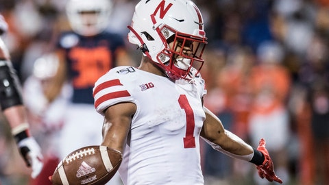 <p>               Nebraska's Wan'Dale Robinson (1) scores in the second half of an NCAA college football game against Illinois on Saturday, Sept. 21, 2019, in Champaign, Ill. (AP Photo/Holly Hart)             </p>