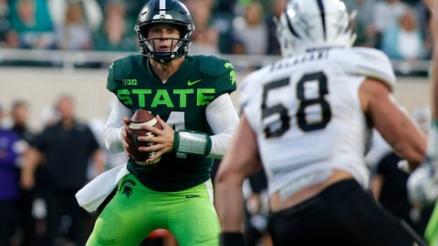 <p>               Michigan State quarterback Brian Lewerke, left, looks to pass against Western Michigan's Antonio Balabani (58) during the first quarter of an NCAA college football game, Saturday, Sept. 7, 2019, in East Lansing, Mich. (AP Photo/Al Goldis)             </p>