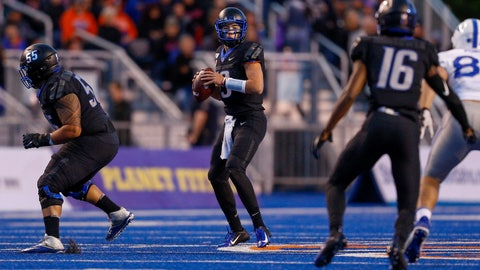 <p>               Boise State quarterback Hank Bachmeier, center, looks downfield against the Air Force defense in the first half of an NCAA college football game, Friday, Sept. 20, 2019, in Boise, Idaho. (AP Photo/Steve Conner)             </p>