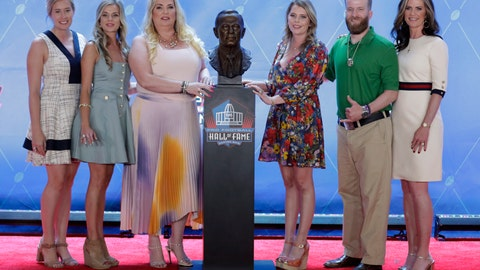 <p>               FILE - In this Aug. 3, 2019, file photo, members of the Bowlen family, from left to right,  Brittany Bowlen, Annabel Bowlen, Amie Bowlen Klemmer, Christina Bowlen, Patrick Bowlen and Beth Bowlen Wallace pose with a bust of former Denver Broncos owner Pat Bowlen during the induction ceremony at the Pro Football Hall of Fame in Canton, Ohio. Pat Bowlen's two oldest daughters, Wallace and Klemmer, have put themselves at risk of being disinherited by challenging their father's trust, which is in charge of selecting the next controlling owner of the Broncos, a franchise valued at more than $2.5 billion. (AP Photo/Ron Schwane, File)             </p>