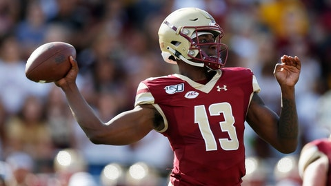 <p>               Boston College quarterback Anthony Brown (13) passes during the first half of an NCAA college football game against Virginia Tech in Boston, Saturday, Aug. 31, 2019. (AP Photo/Michael Dwyer)             </p>