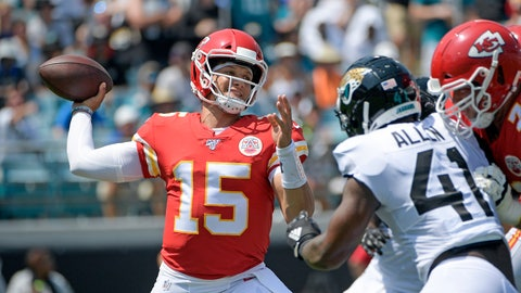 <p>               Kansas City Chiefs quarterback Patrick Mahomes (15) throws a pass as he is pressured by Jacksonville Jaguars defensive end Josh Allen during the first half of an NFL football game, Sunday, Sept. 8, 2019, in Jacksonville, Fla. (AP Photo/Phelan M. Ebenhack)             </p>