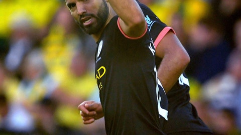 <p>               Manchester City's Sergio Aguero celebrates scoring his side's first goal of the game during the English Premier League soccer match between Norwich City and Manchester City at Carrow Road, Norwich, England, Saturday, Sept. 14, 2019. (Joe Giddens/PA via AP)             </p>
