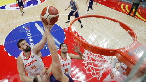<p>               Marc Gasol of Spain is tackled by Nikola Jovic of Serbia as he attempt for a shot during their Group J second phase match for the FIBA Basketball World Cup, at the Wuhan Sports Center in Wuhan in central China's Hubei province, Sunday, Sept. 8, 2019. (AP Photo/Andy Wong. Pool)             </p>