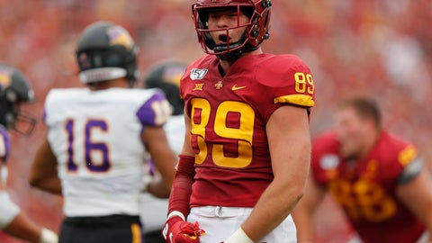 <p>               Iowa State tight end Dylan Soehner celebrates a first down during the first half of an NCAA college football game against Northern Iowa, Saturday, Aug. 31, 2019, in Ames. (AP Photo/Matthew Putney)             </p>