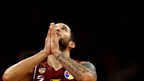 <p>               Heissler Guillent of Venezuela reacts during the final moments of their victory over China in their group phase game in the FIBA Basketball World Cup at the Cadillac Arena in Beijing, Wednesday, Sept. 4, 2019. (AP Photo/Mark Schiefelbein)             </p>