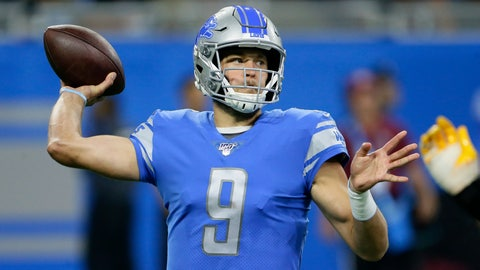 <p>               Detroit Lions quarterback Matthew Stafford (9) throws in the first half of an NFL football game against the Los Angeles Chargers in Detroit, Sunday, Sept. 15, 2019. (AP Photo/Duane Burleson)             </p>