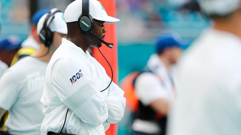 <p>               Miami Dolphins head coach Brian Flores looks from the sidelines, during the second half at an NFL football game against the Baltimore Ravens, Sunday, Sept. 8, 2019, in Miami Gardens, Fla. The Ravens defeated the Dolphins 59-10. (AP Photo/Brynn Anderson)             </p>