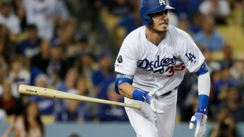 <p>               Los Angeles Dodgers' Cody Bellinger watches his two-run double against the Tampa Bay Rays during the seventh inning of a baseball game in Los Angeles, Tuesday, Sept. 17, 2019. (AP Photo/Chris Carlson)             </p>