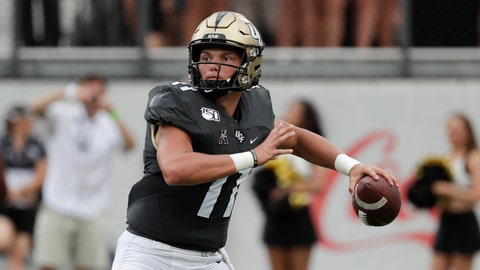 <p>               Central Florida quarterback Dillon Gabriel throws a pass against Stanford during the first half of an NCAA college football game, Saturday, Sept. 14, 2019, in Orlando, Fla. (AP Photo/John Raoux)             </p>