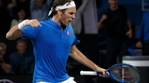<p>               Team Europe's Roger Federer, celebrates after winning against Team world's John Isner at the Laver Cup tennis event in Geneva, Switzerland, Sunday, Sept. 22, 2019. (Salvatore Di Nolfi/Keystone via AP)             </p>