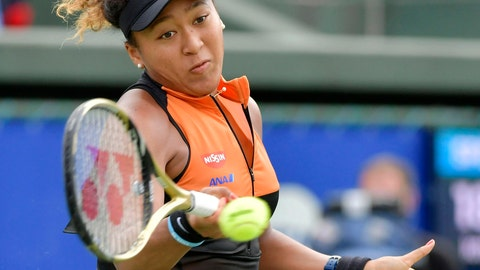 <p>               Japan's Naomi Osaka makes a forehand return to Russia's Anastasia Pavlyuchenkova during their final match at the Toray Pan Pacific Open tennis tournament in Osaka, western Japan, Sunday, Sept. 22, 2019. Osaka won her first singles title since the Australian Open in January by beating Pavlyuchenkova 6-2, 6-3 in the final. (Kyodo News via AP)             </p>