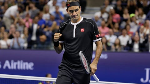 <p>               Roger Federer, of Switzerland, reacts during a match against Grigor Dimitrov, of Bulgaria, during the quarterfinals of the U.S. Open tennis tournament Tuesday, Sept. 3, 2019, in New York. (AP Photo/Seth Wenig)             </p>