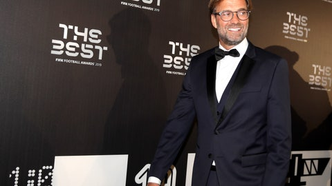 <p>               Liverpool manager Juergen Klopp arrives to attend the Best FIFA soccer awards, in Milan's La Scala theater, northern Italy, Monday, Sept. 23, 2019. Netherlands defender Virgil van Dijk is up against five-time winners Cristiano Ronaldo and Lionel Messi for the FIFA best player award and United States forward Megan Rapinoe is the favorite for the women's award. (AP Photo/Luca Bruno)             </p>