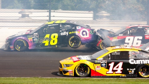 <p>               NASCAR driver Jimmie Johnson (48) is hit by Parker Kligerman (96) in the second turn during the NASCAR Brickyard 400 auto race at the Indianapolis Motor Speedway, Sunday, Sept. 8, 2019, in Indianapolis. (AP Photo/Mike Fair)             </p>