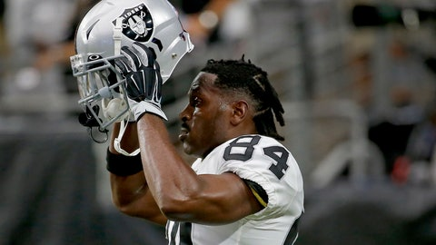 <p>               FILE - In this Aug. 15, 2019, file photo, Oakland Raiders wide receiver Antonio Brown (84) puts on his helmet prior to the team's NFL football game against the Arizona Cardinals in Glendale, Ariz. Brown missed significant practice time dealing with frost-bitten feet suffered while getting cryotherapy treatment in France and waging a battle with the NFL over the use of his outdated helmet. He lost a grievance to allow him to use the helmet that's no longer certified as safe and returned to camp. (AP Photo/Rick Scuteri, File)             </p>