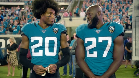 <p>               Jacksonville Jaguars cornerback Jalen Ramsey (20) talks to running back Leonard Fournette (27) before an NFL football game against the Tennessee Titans Thursday, Sept. 19, 2019, in Jacksonville, Fla. (AP Photo/Phelan M. Ebenhack)             </p>