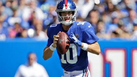 <p>               New York Giants quarterback Eli Manning looks to throw during the first half of an NFL football game against the Buffalo Bills, Sunday, Sept. 15, 2019, in East Rutherford, N.J. (AP Photo/Adam Hunger)             </p>