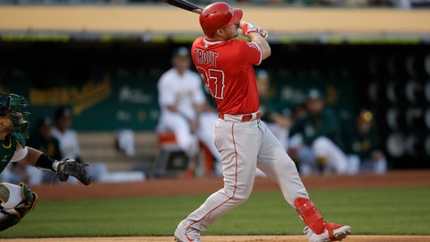 <p>               Los Angeles Angels' Mike Trout watches his home run off Oakland Athletics pitcher Mike Fiers during the first inning of a baseball game Tuesday, Sept. 3, 2019, in Oakland, Calif. (AP Photo/Ben Margot)             </p>