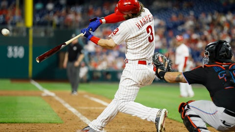 <p>               Philadelphia Phillies' Bryce Harper (3) hits a three-run home run off Miami Marlins relief pitcher Wei-Yin Chen during the sixth inning of a baseball game, Saturday, Sept. 28, 2019, in Philadelphia. (AP Photo/Matt Slocum)             </p>