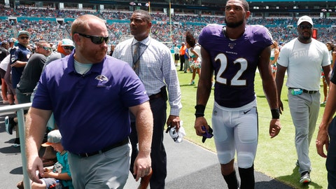 <p>               FILE - In this Sunday, Sept. 8, 2019, file photo, Baltimore Ravens cornerback Jimmy Smith (22) walks off the field after an injury during the first half at an NFL football game against the Miami Dolphins, in Miami Gardens, Fla. Jimmy Smith will miss several weeks after spraining his knee in Sunday's game against Miami. Coach John Harbaugh said Monday, Sept. 9, 2019, that Smith has a Grade 2 sprain of the right knee. (AP Photo/Wilfredo Lee, File)             </p>